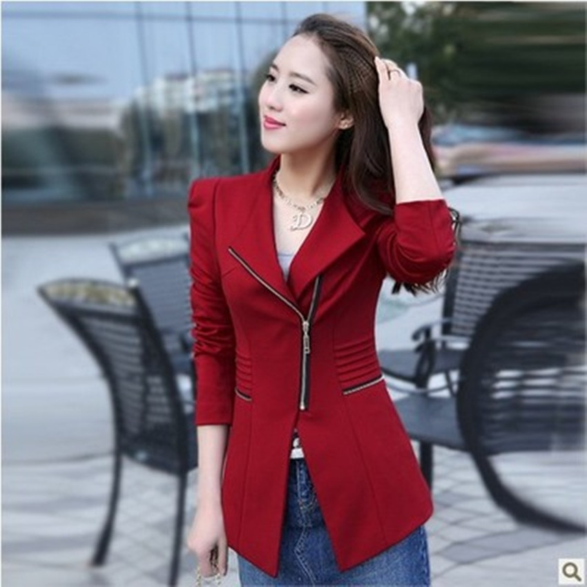 Ladies coat spring and autumn new style womens Korean long-sleeved zipper temperament commuter slim small suit jacket female