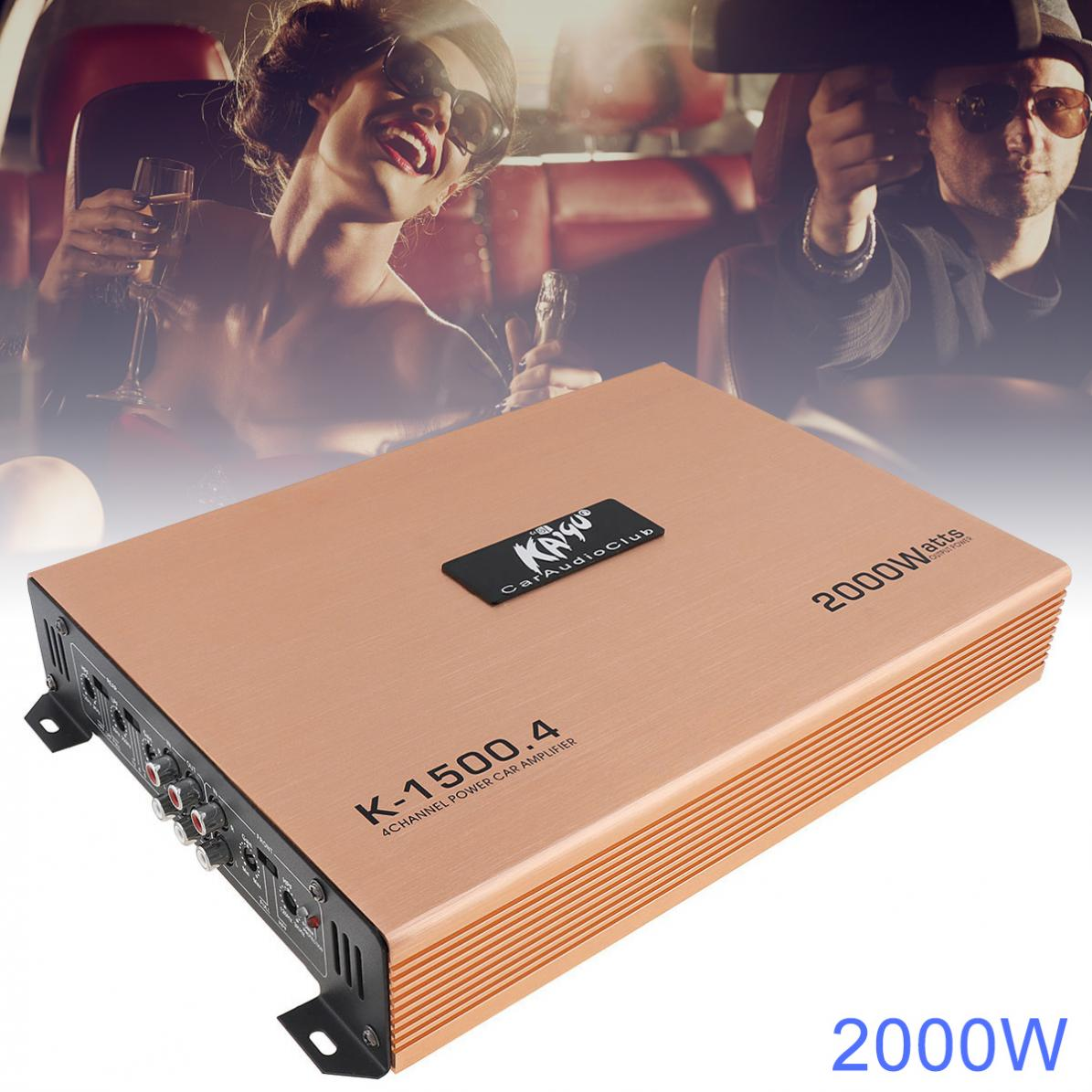 Amplificadores estéreo para coche de alta potencia 2000W Clase AB Digital 4 canales de aleación de aluminio para coche/hogar