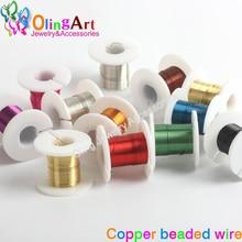 OlingArt 0.3/0.4/0.5mm * 3yd(2.74M) 1 rouleaux/lot cuivre placage 10 couleur mixte multicolore perle fil bijoux à bricoler soi-même accessoires corde