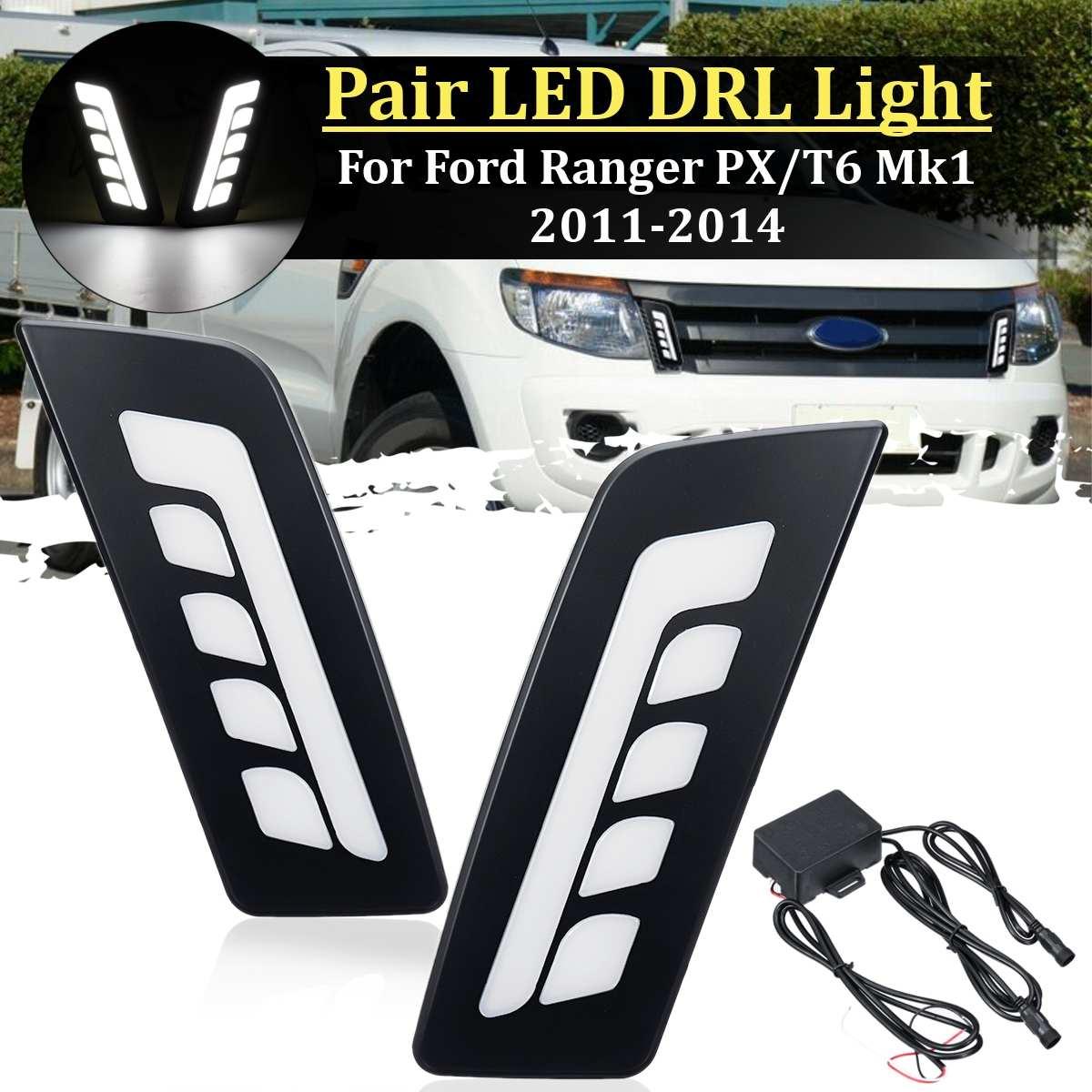 Car  Led Drl For Ford Ranger PX/T6 Mk1 2011-2014 Daytime Running Light Front Bumper Driving Fog Lamp Daylight Headlight  Styling