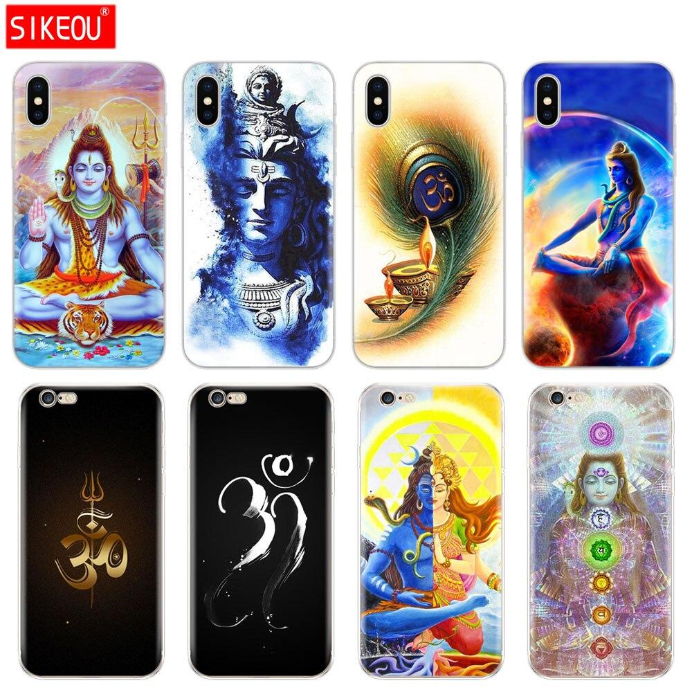 Cubierta de silicona del teléfono carcasa para iPhone 6X8 7 6s 5s 5S SE Plus 10 XR XS Max caso Señor Shiva dios hindú Buda India Mahakal