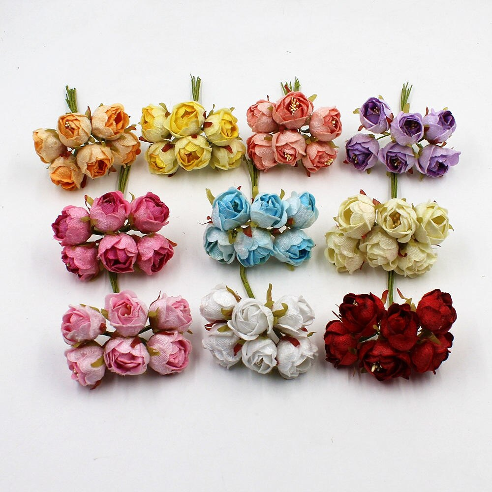 6pcs / lot High Quality Mini Tea Rose Bud Artificial Flowers for Wedding Home Decoration Wreath Jewelry Scrapbooking DIY Handmad