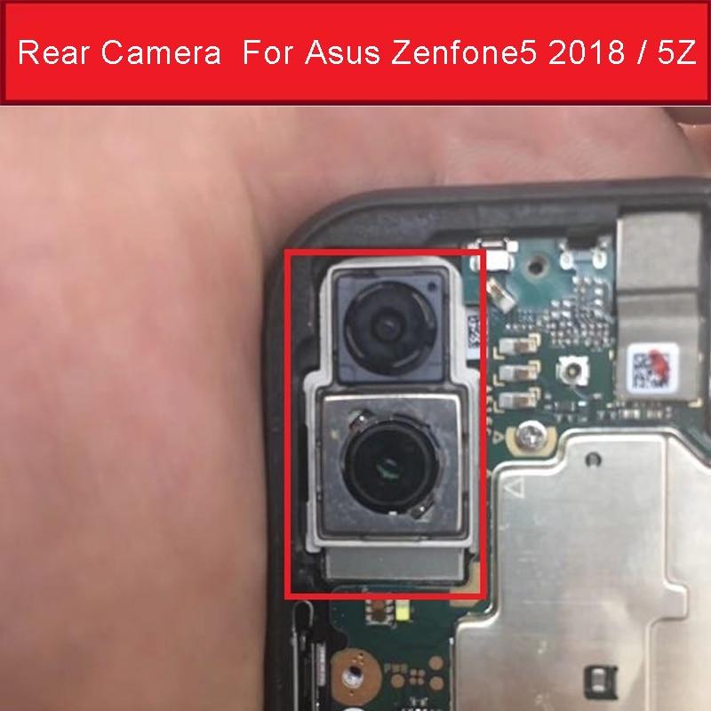 Câmera frontal & traseira para asus zenfone 5 2018/5z zs620kl ze620kl x00qd z01rd pequena câmera & parte traseira principal módulo de câmera cabo flexível