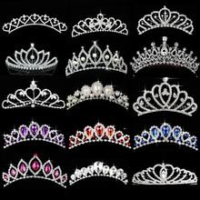 Princess Crown for Girls Show Bridal Crown Tiara Diadem Crystal Floral Wedding Bridal Hair Accessories Head Jewelry
