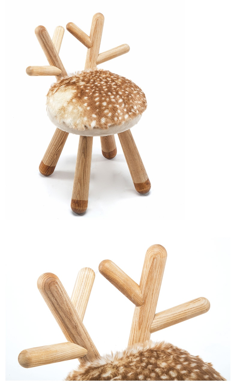 Quality Deer stool Nordic style solid wood children's gifts bench stool baby chair home animal stool
