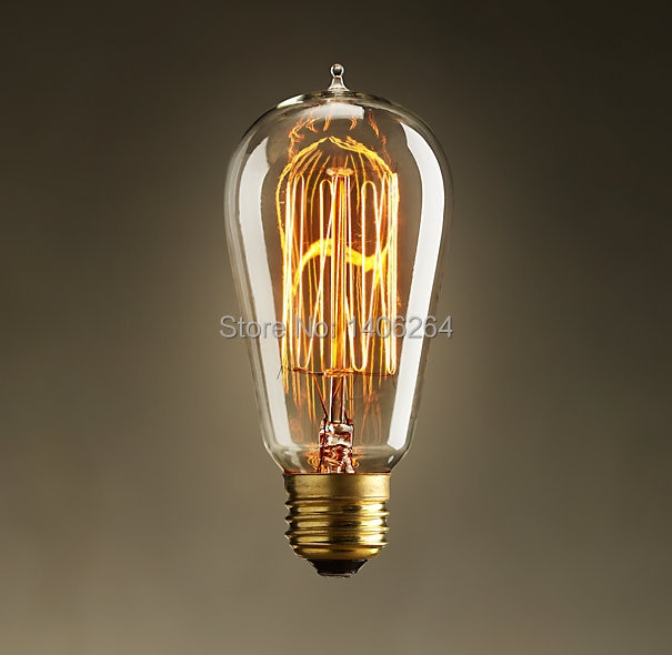 ST64 Edison Vintage bulbos de filamento de tungsteno 40W Ac110-220V