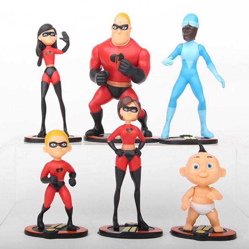 6 unids/set Disney Pixar los increíbles 2 película Superman figura familiar juguetes Dash Parr Jack Parr Elastigirl MODELO DE figura de acción