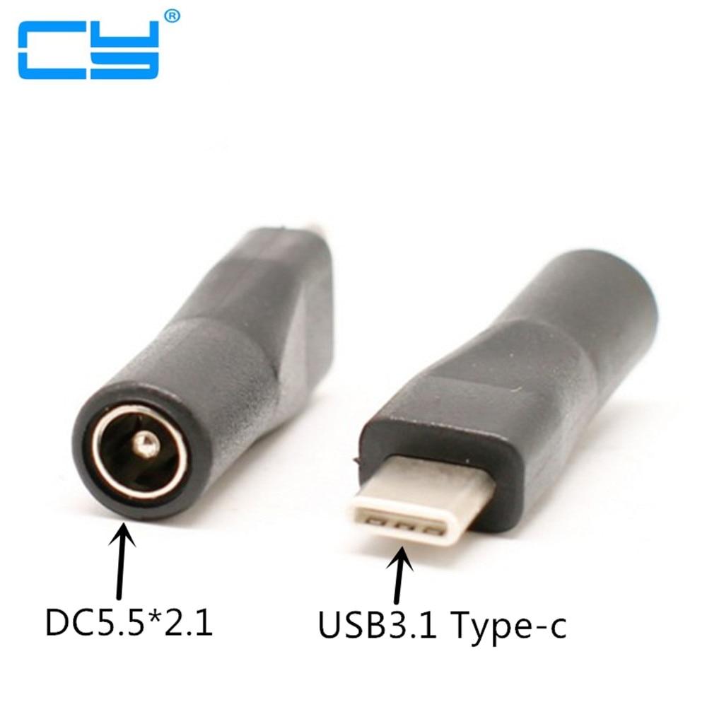 USB-C USB 3,1 Tipo C para DC 5,5 2,1mm, conector con adaptador de extensión de carga, para nuevo y móvil tele