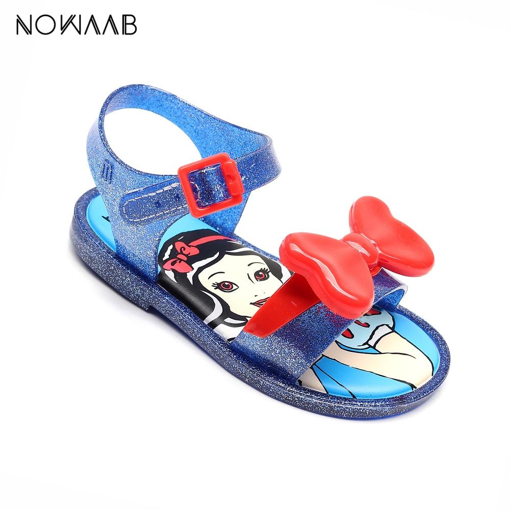 Mini Melissa 2019 Summer Girls Jelly Sandals Shoes Girls Snow Princess Sandals Girl Non-slip Kids Beach Style Toddler Sandals