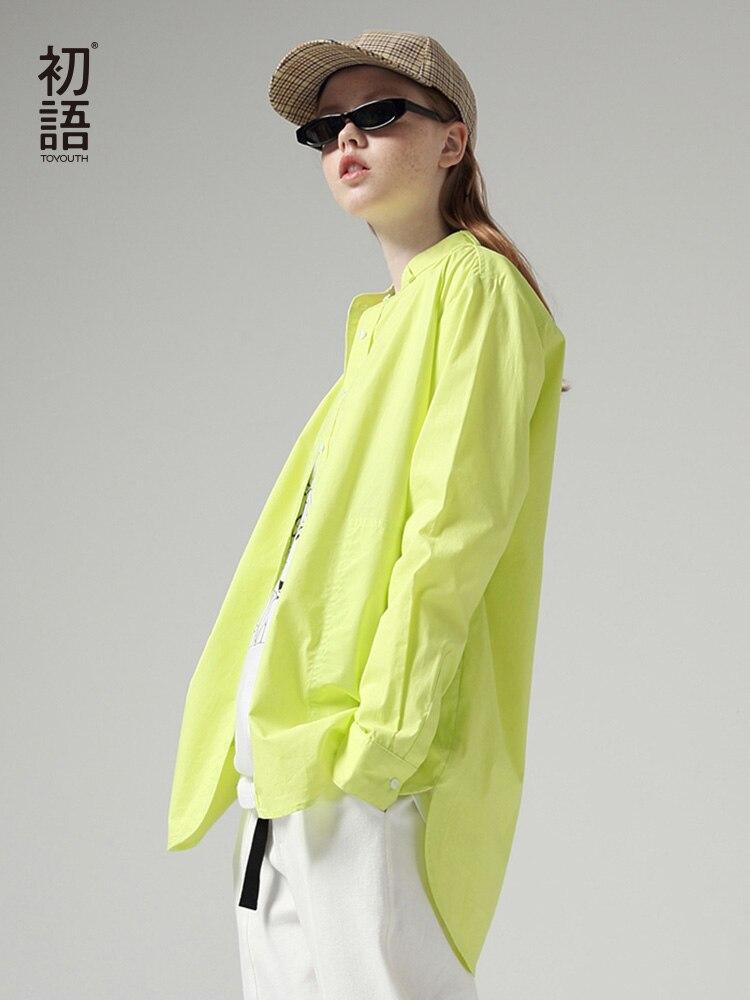 Toyouth moda mujer blusas 2019 otoño manga larga estilo novio Casual Stand Collar Color sólido blusa de calle camisa