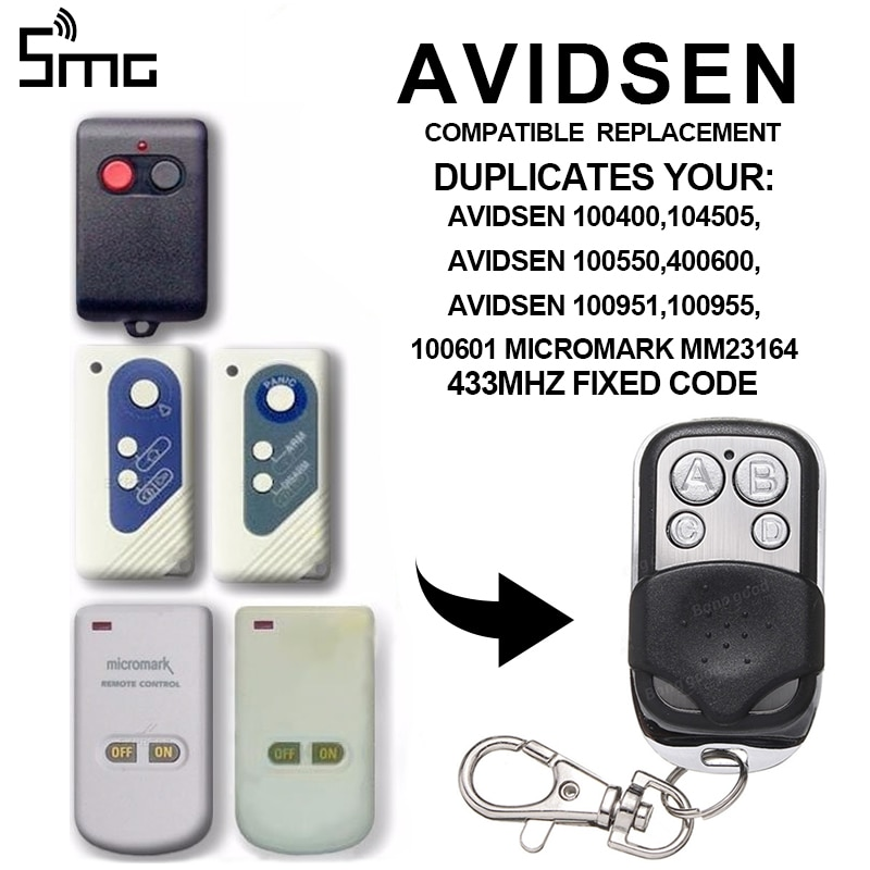 1 Uds AVIDSEN 100951/AVIDSEN 100955/AVIDSEN 100550/100400 433,92 Mhz copia puerta de garaje puerta solapa puerta mando de control remoto