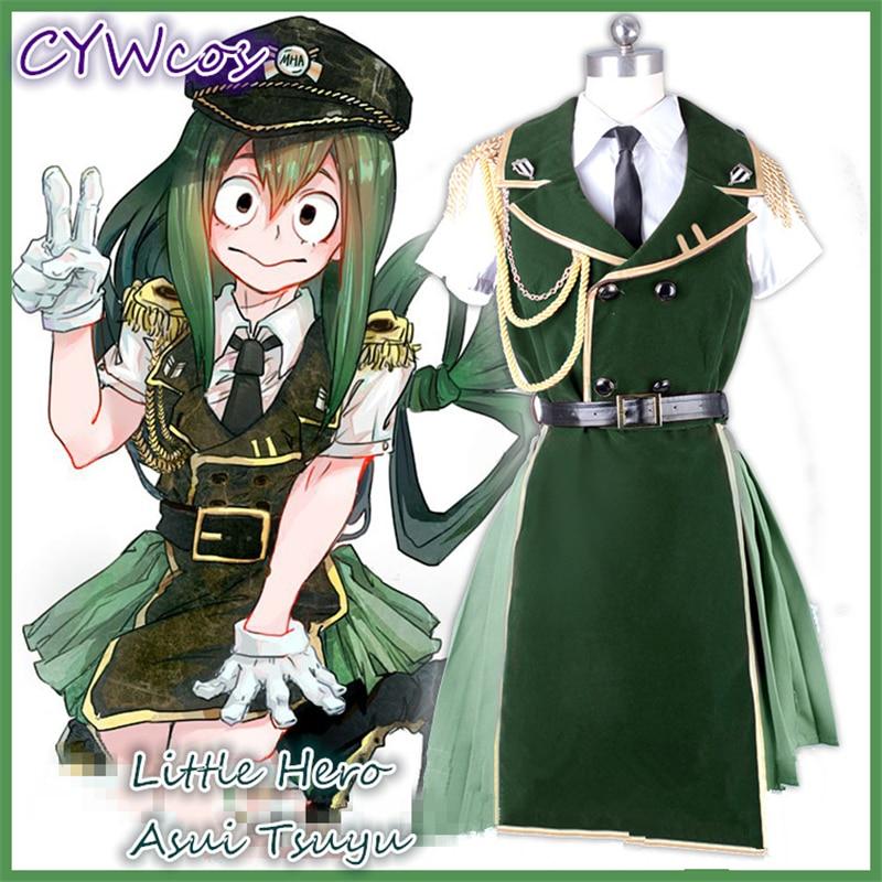 Anime Academia my Hero Cosplay Little Hero Asui tsuyu uniforme militar femenino trajes militares Cosplay disfraz + camisa
