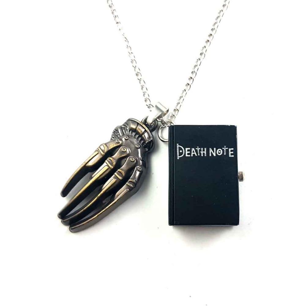 Death note reloj de bolsillo de cuarzo muerto negro bronce collar cadena garra colgante 1 unids/lote grim Reaper cosplay juguete colgante de reloj