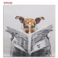 fun oil painting dog reading newspaper kids bedroom large size square hand painted frameless wall art poster decorative painting