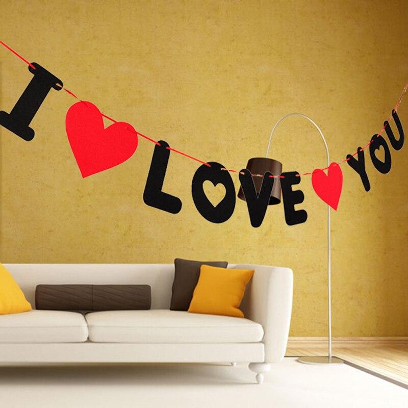 1 Juego de letras y corazones rojos, Banner no tejido I Love You, decoración de boda, colgante, guirnalda, accesorios para fotos, suministros de fiesta de San Valentín