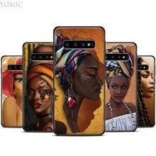 Bunte kunst afrikanische mädchen Schwarz TPU Fall für Samsung Galaxy S20 Ultra 5G S10 S10e S8 S9 Plus A50 a51 A71 Hinweis 8 9 10 Weiche Abdeckung