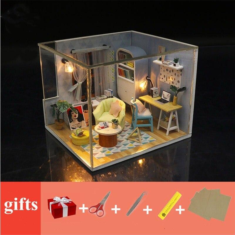 Muebles de casa de muñecas de madera casa de muñecas diy miniaturas con luz LED 3D kit Regalo de Cumpleaños casa modelo juguetes para niños