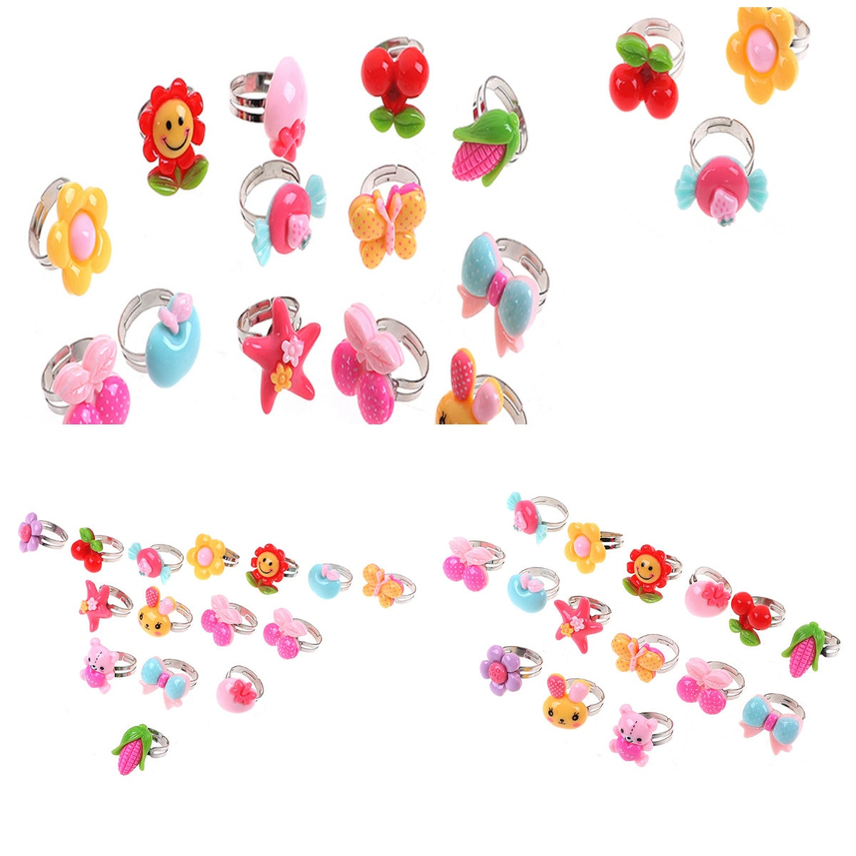 10 pièces/lot anneaux de bande dessinée réglables pour les filles habiller fête faveurs enfants jouet aléatoire