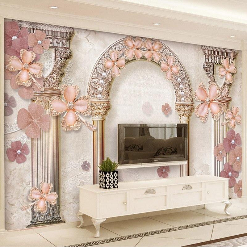 Estilo europeu Roma Coluna Jewel Pérolas Foto Murais Wallpaper 3D Pano Sala de estar Sofá TV adesivos de Parede Decoração Casa de Luxo À Prova D Água 3D