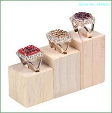 3 stks/set Nieuwe Ontwerp Aanrecht Natuurlijke Kleur Vierkante Rechthoek Hout Gegroefde Sieraden Ring Display Stand Base Organizer