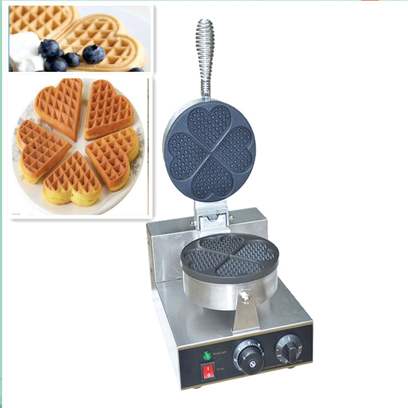 110/220V Multifunctional Commercial Electric Waffle Maker 4pcs Single Plate Heart Shaped Waffle Crep Bread Maker EU/AU/BS/US