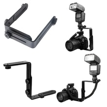 Universal Metal Double L-Shaped Bracket Holder Mount Arms for Canon Nikon DSLR Camera Flash Unit LED light with 1/4 Screw Holes