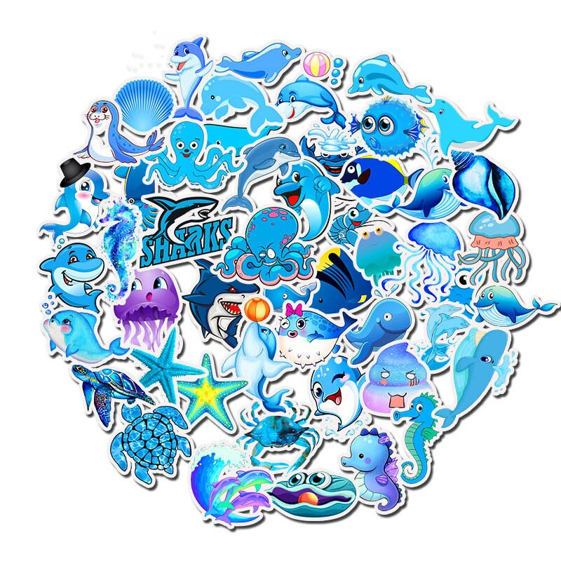 49 Uds mundo submarino Scrapbooking pegatinas tiburón lindo tortuga marina caballo azul pegatinas de mar para DIY