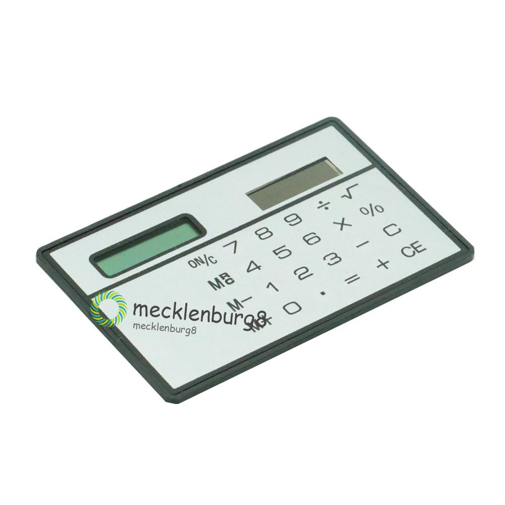 8 Digits Ultra Mini Slim Credit Card Size Solar Power Calculator Small Pocket mini calculator