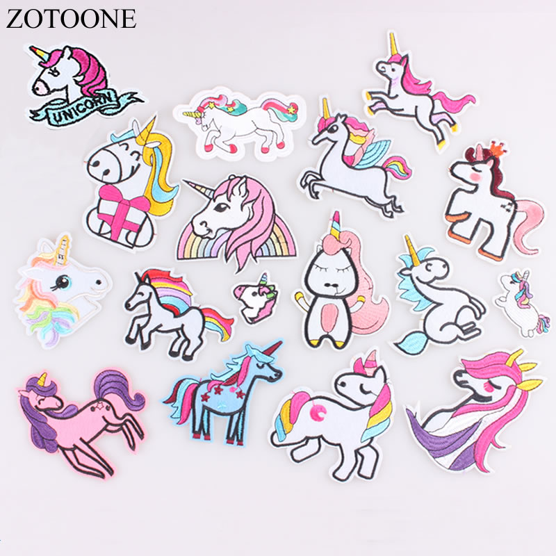 ZOTOONE, parches de unicornio para planchado, apliques de animales bordados para chaqueta, adhesivos para ropa, insignia DIY, accesorios para ropa E