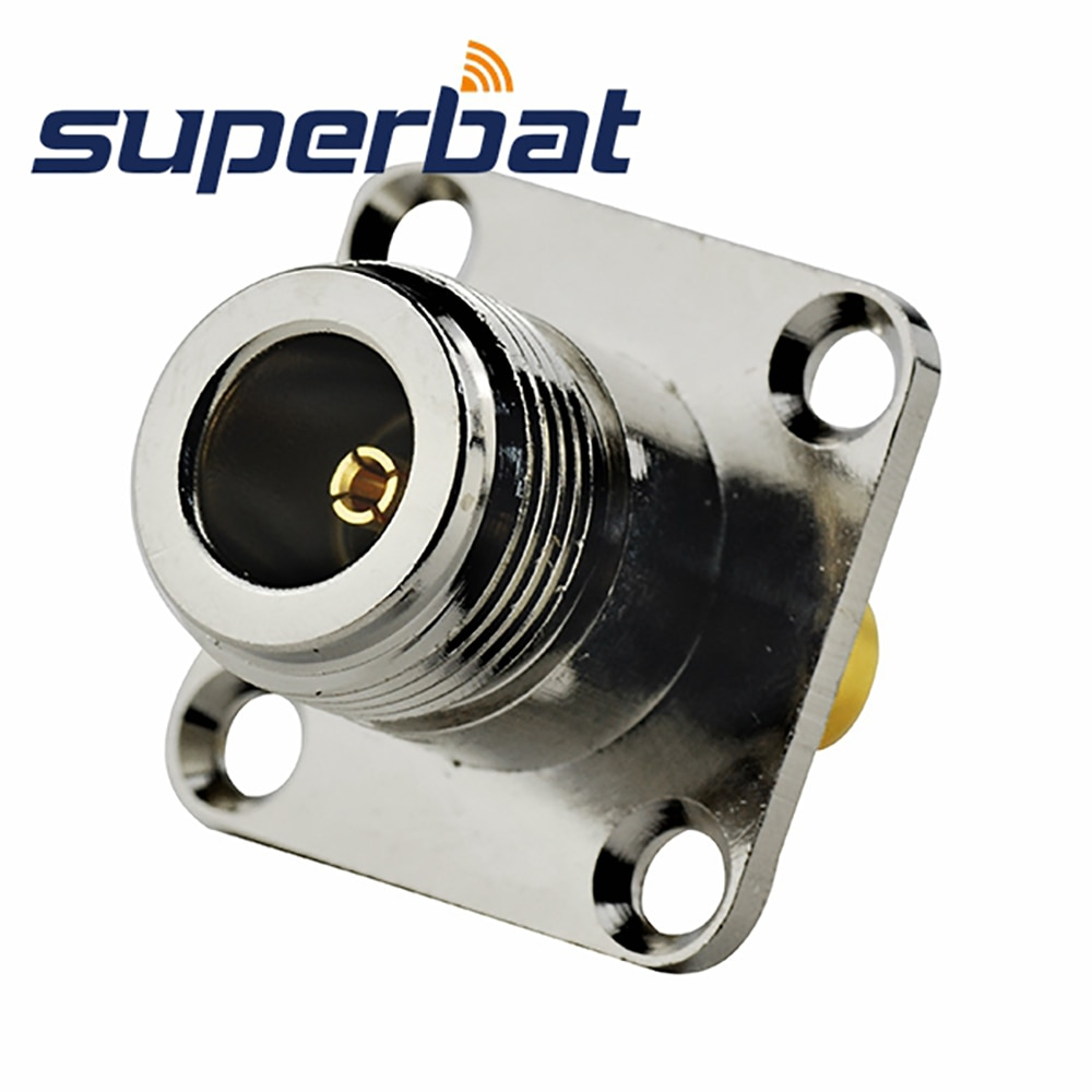 Superbat SMA Plug to N Jack 4 Hole Mount Flange (25*25mm) Adapter Connector