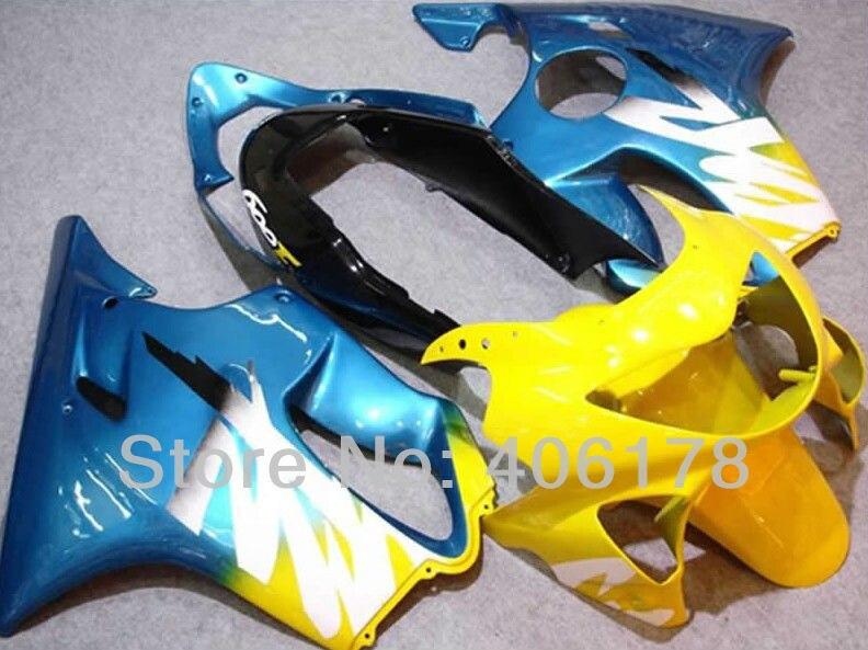 Kit de caronnages de moto jaune et bleu   Pour CBR600F4 1999-2000 CBR600 F4 99-00 (moulage par Injection)