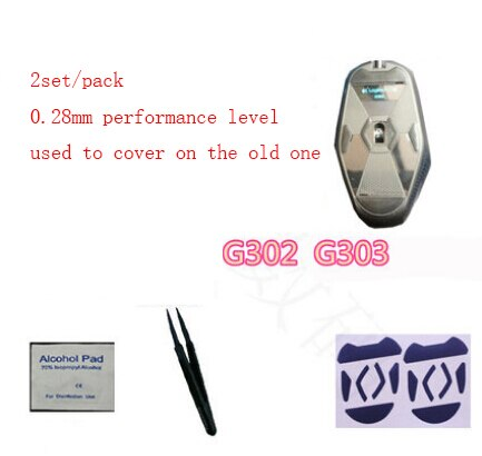 2 sets/pack 0,28mm mouseskate de nivel de rendimiento de teflón para juegos de Línea Directa logitech G302 G303 mouse feet mouse pad envío gratis