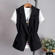 2021 Spring Female Suit Vest Black Sleeveless Waistcoat For Women Slim Blazer Vest Plus Size S~3Xl J