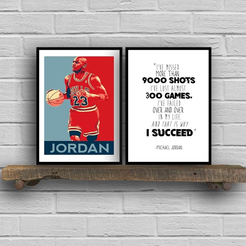 Michael Jordan Cartaz Arte Da Parede Estampas, Cotação de Michael Jordan Basketball Arte Da Pintura Da Lona do Retrato Da Parede Home Decor