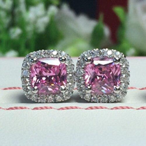 Joyería de marca 3M, Perno rosa encantador de oro blanco de 14K 2CT/pieza SONA, pendientes de diamante rosa para mujer, joyería de boda, cojín