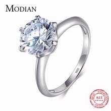 3Ct Modian 2019 925 bague en argent Sterling clair Six griffes zircon cubique mode mariage fiançailles bijoux classiques pour les femmes