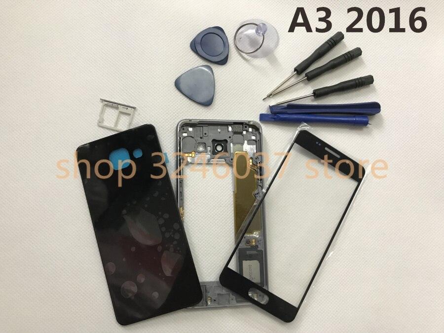 Оригинальный Полный корпус средняя рамка + чехол задняя крышка + передний экран Стеклянные линзы для Samsung Galaxy A3 2016 A310 A310F полные части