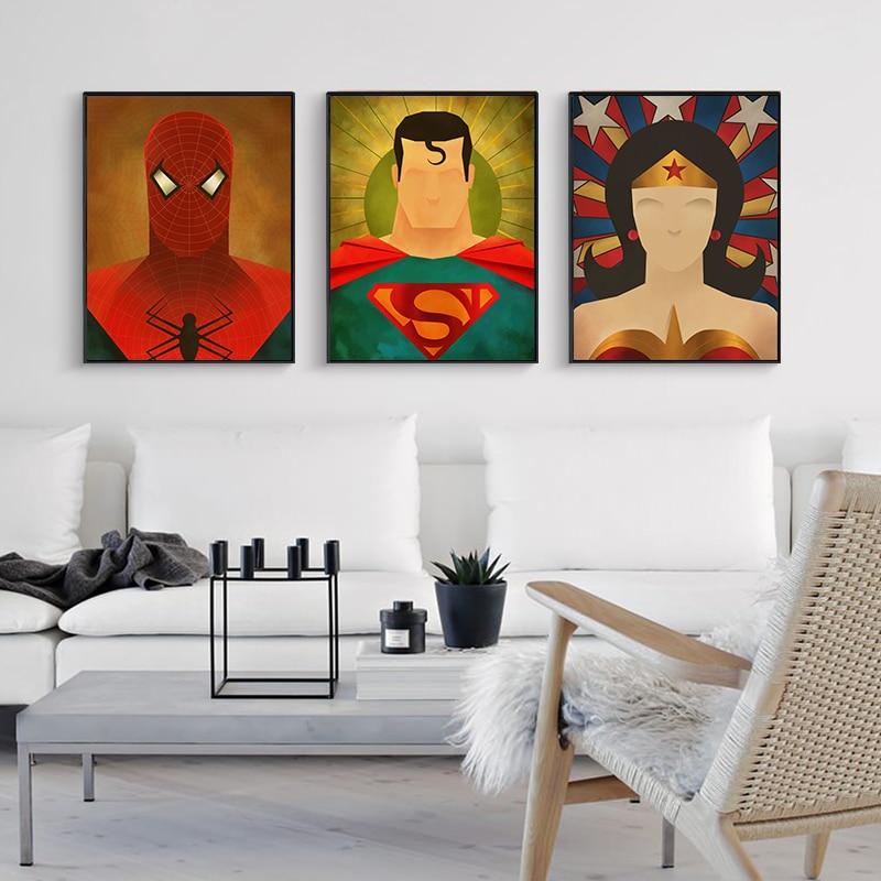 Superman Impresso Retrato Pop Art Pintura abstrata Poster Canvas Cuadros Decoracion superman Batman Retrato Da Parede For Living Roo