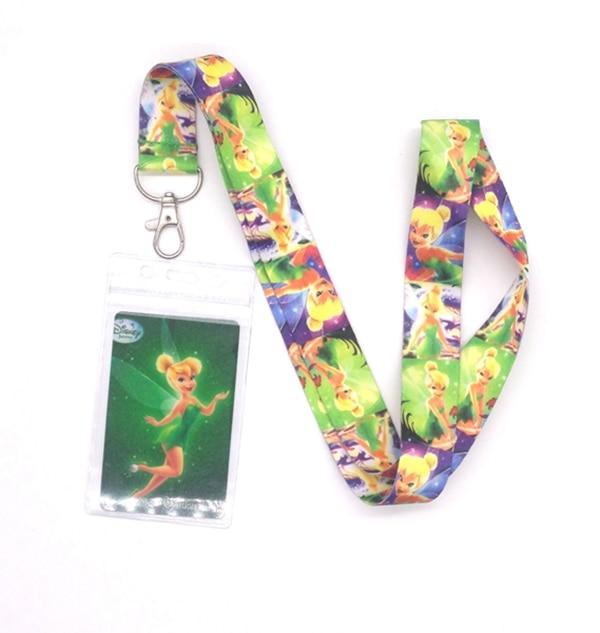 Venta al por menor 1 piezas de dibujos animados campanilla cuello Correa cordones titulares de la tarjeta de Banco correa para el cuello de la tarjeta ID titulares cuerda clave cadena de L400