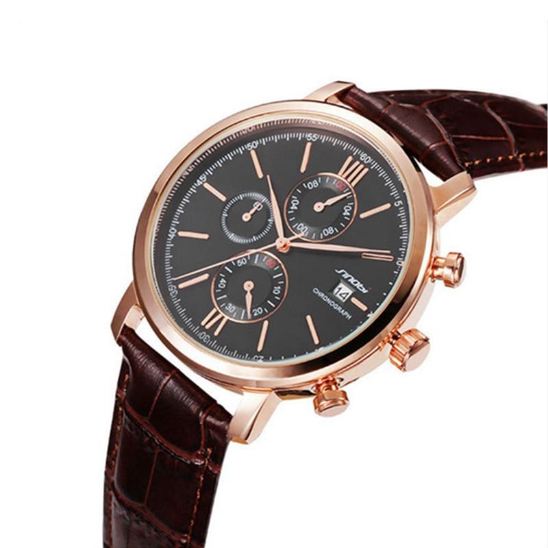 Reloj de cuarzo de lujo SINOBI para hombre, Relojes de Cuero genuino con fecha automática, relojes deportivos impermeables de 30 M, reloj de hombre, reloj de hora, reloj masculino