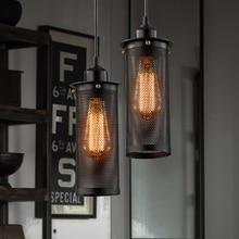Loft Industrial Edison Vintage Metal Iron Grid 1-Light Pendant Lamp Lights for Cafe Bar Hall Dining Room Restaurant Droplight