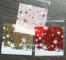 100 pz/lotto 3 colori fiocco di neve Di Natale confezioni regalo sacchetti 10x10 cm self sacchetti autoadesivi per biscotti spuntino cottura pacchetto