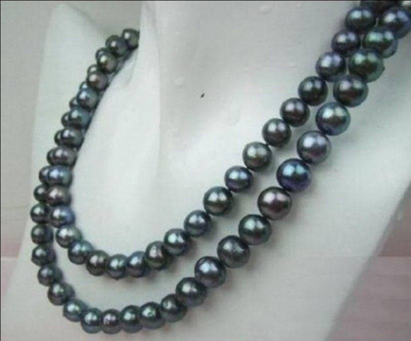 """Natural AA + 8-9MM TAHITIAN negro perla collar 33 """"> Cuenta encanto joyería del cuerpo"""
