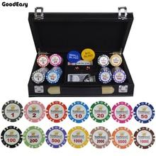 100/200/300/400/500 pièces/ensemble or couronne Poker puce argile Casino puces Texas Holdem Poker ensembles avec PU-cuir étui/boîte/valise