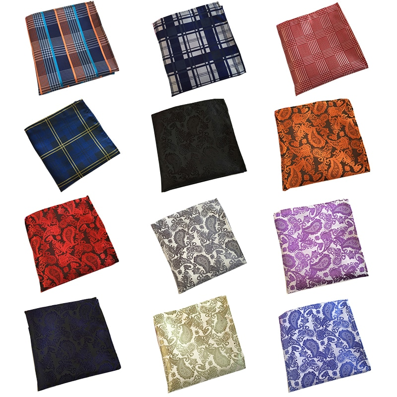 RBOCOTT pañuelos de diseño Paisley de bolsillo a cuadros azules para hombre, pañuelo de puntos 25cm x 25cm para hombre, accesorios de boda y negocios rojos