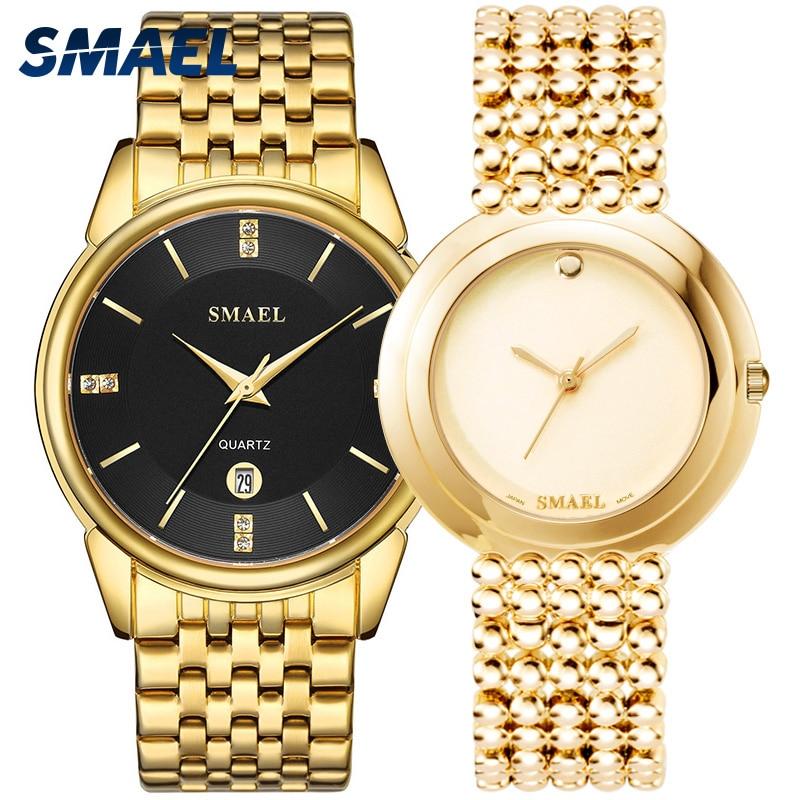 SMAEL luxury classic watches SET for couple gens a ladys waterproof casual wristwatch Elegant 9026 1885M Quartz digital clock