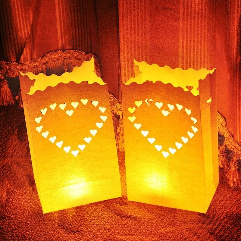 50 unidades, bolsa para vela blanca con forma de corazón, lámpara LED, faroles de papel para decoración de Fiesta al aire libre y bodas, señal de ruta
