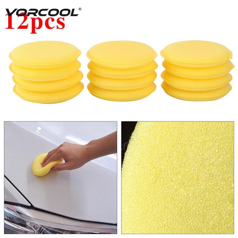 VORCOOL, 12 Uds., esponja de limpieza para coche, esponja de cera para pulido de cera, esponja aplicadora, almohadillas de 10CM, limpiador amarillo, herramienta de lavado, cuidado del coche