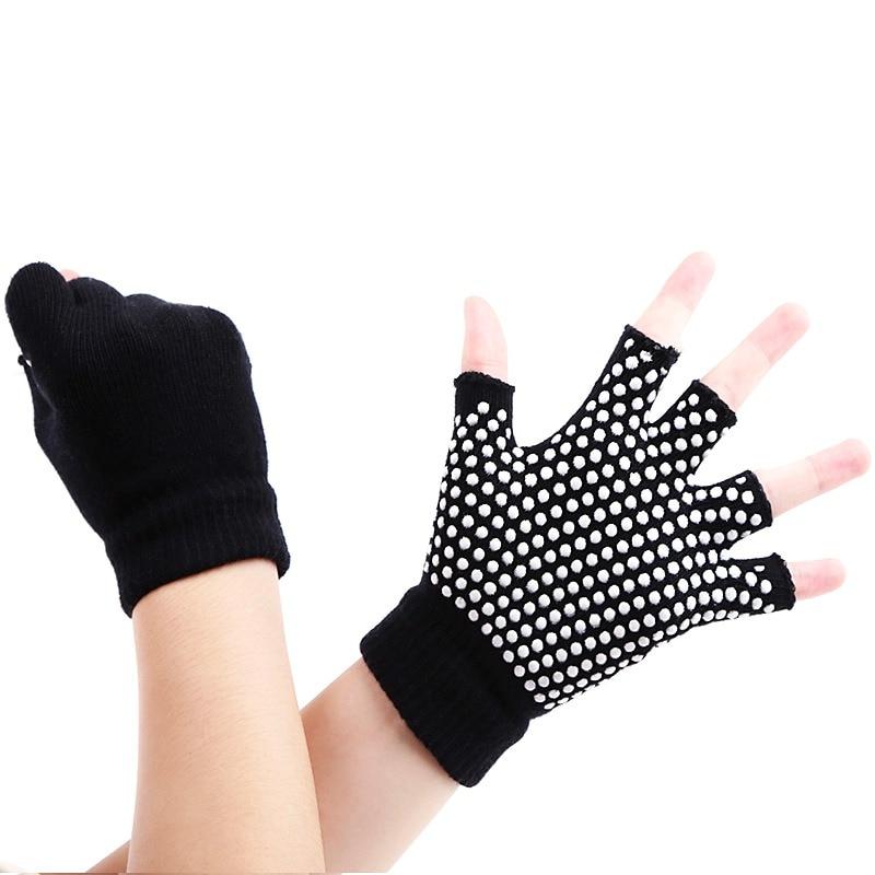 1 par de mujeres deportes mitad Mitad de dedo antideslizante Yoga guantes de entrenamiento gimnasio edificio del Cuerpo de formación transpirable ejercicio Pilates guantes