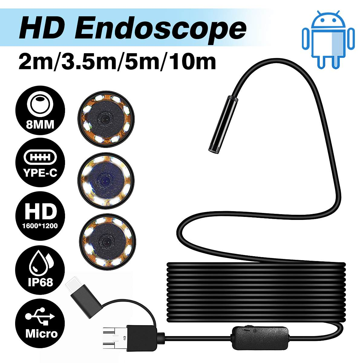 8mm lente 2M 3,5 M 5M 10M HD 1200P CÁMARA DE endoscopio USB para Android Flexible serpiente USB de inspección de Android Teléfono Cámara boroscopio